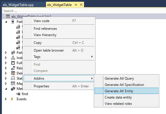 generate atl entity d365