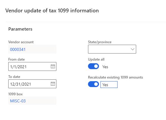 vendor update tax 1099 dynamics 365