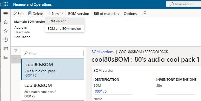 new bom version dynamics 365