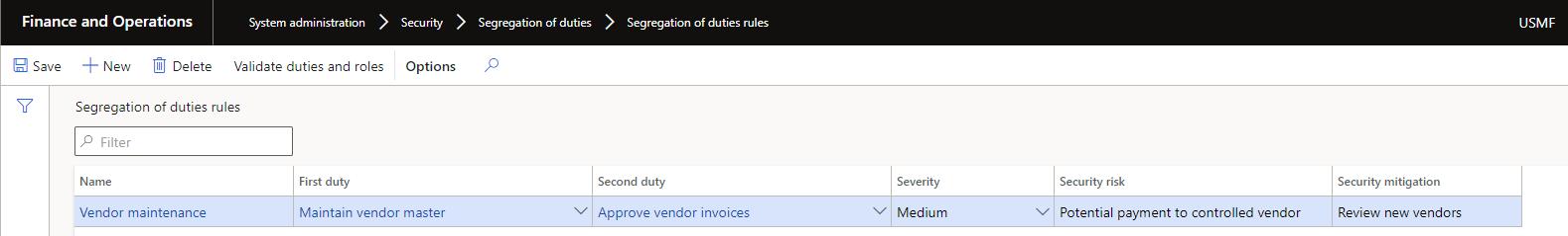 dynamics 365 segregation of duties