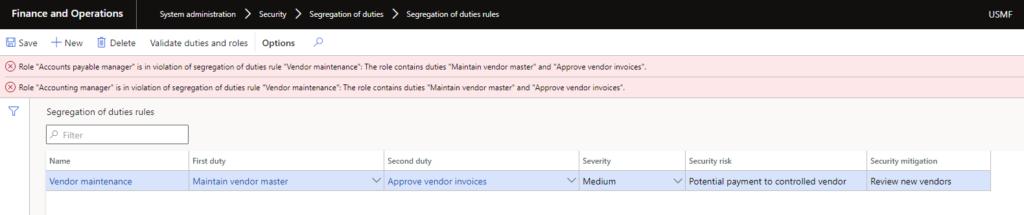 segregation of duties rules